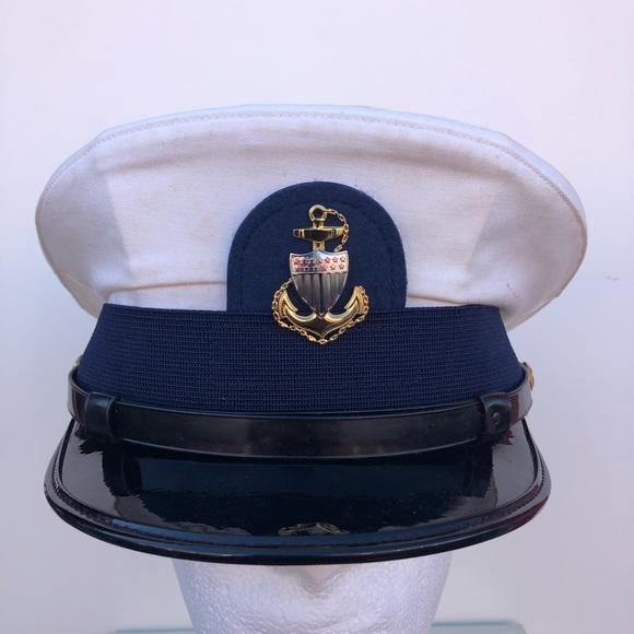 Vintage White & Blue Captains Hat